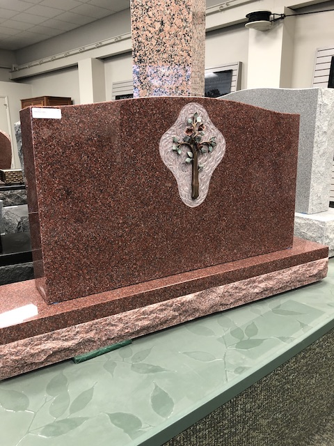 42x6x54 India Red Memorial with Bronze Cross